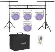 Chauvet DJ Lighting (4) EZpar 64 RGBA White Battery Powered Slim Can LED Light with Truss Stand S...