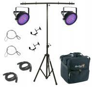 Chauvet DJ Lighting (2) EZpar 64 RGBA Black Battery Powered Slim Can LED Light with T-Bar Stand, ...