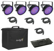 Chauvet DJ Lighting (4) EZpar 64 RGBA Black Battery Powered Slim Can LED Light with (4) DMX Cable...