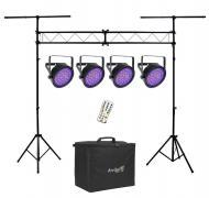 Chauvet DJ Lighting (4) EZpar 64 RGBA Black Battery Powered Slim Can LED Light with Truss Stand S...