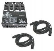 Chauvet DJ Lighting DMX-4 Programable Dimmer / Relay Switch Pack with (2) DMX Cables Package