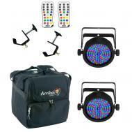 Chauvet DJ Lighting (2) EZpar 56 Battery Powered RGB Color Wash LED Light with Arriba Travel Bag ...