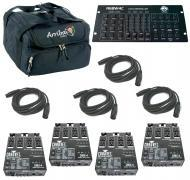 Chauvet DJ Lighting (4) DMX-4 Programable Dimmer / Relay Switch Pack with (4) DMX Cables, Arriba ...