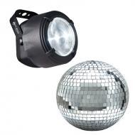 "American DJ FX Beam Micro Beam Pin Spot 3 Watt White LED Light with 8"" Mirror Disco Ball"