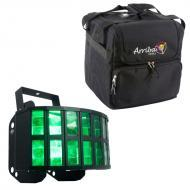 American DJ Aggressor HEX LED Sound Activated Multi Color Derby Beam Light with Arriba Travel Bag