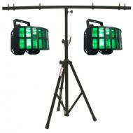 American DJ (2) Aggressor HEX LED Sound Activated Multi Color Derby Beam Light with T-Bar Light S...