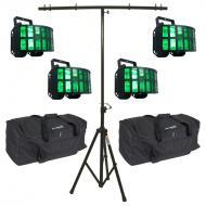 American DJ (4) Aggressor HEX LED Sound Activated Multi Color Derby Beam Light with T-Bar Light S...