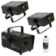 American DJ (2) Micro Sky Green Laser Ceiling, Wall or Above Crowd Light with Hurricane 700 Fog M...