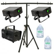 American DJ (4) Micro Sky Green Laser Ceiling, Wall or Above Crowd Light with T-Bar Stand, Hurric...