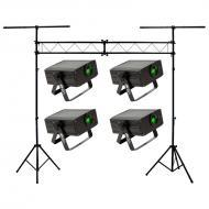 American DJ (4) Micro Sky Green Laser Ceiling, Wall or Above Crowd Light with Portable Truss Ligh...