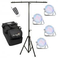 American DJ (4) Jelly Go Par 64 RGBA Battery Powered LED Wash Light with RFC Remote, Travel Bag &...