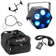 American DJ Quad Phase HP Moonflower LED Beam RGBW Light with Travel Bag, UC3 Controller, Clamp &...