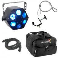 American DJ Quad Phase HP Moonflower LED Beam RGBW Light with Cables, Travel Bag & Clamp