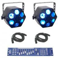 American DJ (2) Quad Phase HP Moonflower LED Beam RGBW Light with Obey 10 Controller & DMX Ca...