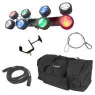 American DJ Octo Beam RGBW Multi Color LED 8 Head Beam Effect Light with Travel Bag, Cables &...