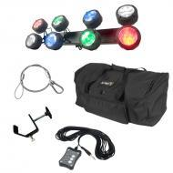 American DJ Octo Beam RGBW Multi Color LED 8 Head Beam Effect Light with UC3 Controller, Travel B...