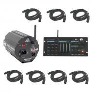 American DJ WiFly RGBW8C Wireless 32 Channel Controller with D6 Branch Splitter & DMX Cables