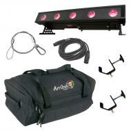 American DJ WiFly Bar QA5 Battery Powered Wireless DMX Linear Wash Light with Travel Bag, Cables ...