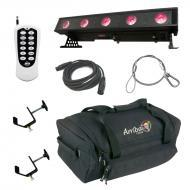 American DJ WiFly Bar QA5 Battery Powered Wireless DMX Linear Wash Light with RFC Remote, Travel ...