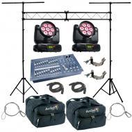 American DJ (2) Inno Color Beam Quad 7 Moving Head 70W LED Spot Light with Bags, Cables, Clamps, ...