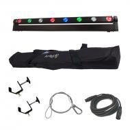 American DJ Sweeper Beam Quad 8 Zone Sweeping Wash & Chase LED Color Light with Travel Bag, C...
