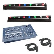 American DJ (2) Sweeper Beam Quad 8 Zone Sweeping Wash & Chase LED Color Light with Stage Des...