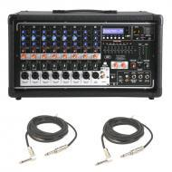 "Peavey PVI 8500 Pro Audio 8 Channel Powered 400 Watt Mixer with (2) 1/4"" Speaker Cables Package"