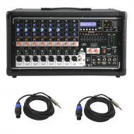 "Peavey PVI 8500 Pro Audio 8 Channel Powered 400 Watt Mixer with (2) Speakon to 1/4"" Speaker ..."