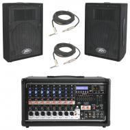 "Peavey PVI 8500 Pro Audio 8 Channel Powered 400 Watt Mixer with (2) 1/4"" Cables & PVi 10..."