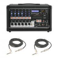 "Peavey PVI 6500 Pro Audio 6 Channel Powered 400 Watt Mixer with (2) 1/4"" Speaker Cables Package"