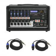 "Peavey PVI 6500 Pro Audio 6 Channel Powered 400 Watt Mixer with (2) Speakon to 1/4"" Speaker ..."