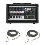 "Peavey PVI 5300 Pro Audio 5 Channel Powered 200 Watt Mixer with (2) 1/4"" Speaker Cables Package"