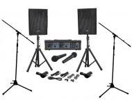Peavey Audio Performer Pack PA Mixer & 100 Watt Amp Speaker System with (2) Mic Stands Package