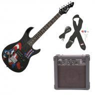Peavey Rockmaster 3/4 Student Marvel Captain America Beginner Electric Guitar with Cable, Picks, ...