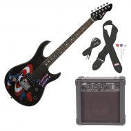 Peavey Rockmaster Full Size Marvel Captain America Super Hero Electric Guitar with Cable, Picks, ...
