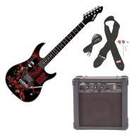 Peavey Rockmaster Full Size Marvel Deadpool Super Hero Electric Guitar with Cable, Picks, Strap &...