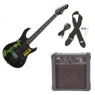 Peavey Rockmaster Full Size Marvel Hulk Super Hero Electric Guitar with Cable, Picks, Strap &...