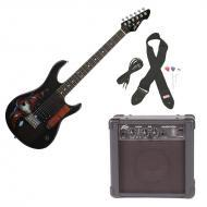 Peavey Rockmaster Full Size Marvel Iron Man Super Hero Electric Guitar with Cable, Picks, Strap &...