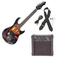 Peavey Rockmaster 3/4 Student DC Superman Beginner Electric Guitar with Cable, Picks, Strap &...