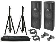 "Peavey (2) PV215D Pro Audio DJ Powered 800 Watt Dual 15"" PA Speakers with Tripod Stands &amp..."