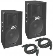 "Peavey (2) PV115D Pro Audio DJ Two Way 15"" Powered 400 Watt Peak PA Speaker Pair New"