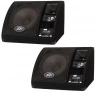"Peavey (2) PV15PM Pro Audio 2-Way 15"" Powered Floor Stage Monitor 200 Watts Peak Speaker Pai..."