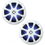 "Kicker 11KM6LW 6"" 2-Way Light-Up Coaxial Boat Speakers with 1/2"" Dome Tweeters"