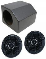 "1976-1986 Jeep CJ-7 Dual 4"" Front Speaker Dash Mount Rhino Coated Box with Kicker DSC44 Spea..."