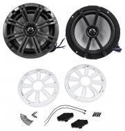 Kicker KM654CW 6.5 Inch Speakers 4-Ohm Charcoal/White Marine Coaxial (41KM654CW)