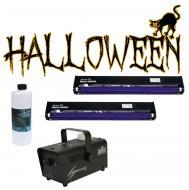 "Halloween Chauvet H700 Fog Smoke Machine with Fluid & (2) 24"" Blacklight UV Light"