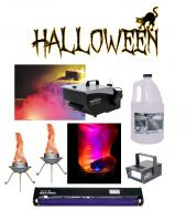 "Halloween Mister Kool Low Laying Fog Machine with Bob LED Flame Light Strobes 24"" Blacklight"