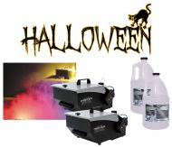 (2) Halloween Mister Kool Low Laying Fog Smoke Machine with (2) Gallon Fluid