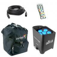 Chauvet DJ Lighting Freedom Par Tri 6 Battery Powered RGB LED Wash Light with Travel Bag & DM...