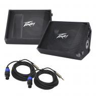"(2) Peavey PV 12M Pro Audio DJ Passive 12"" Stage Monitor 1000W Speaker with 1/4"" to Spe..."